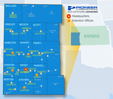 Pioneer Communications Coverage Area Map in Southwest Kansas